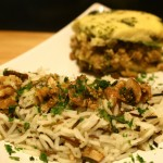 Zucchini Lasagna With Champignons, Tofu, Walnuts and Basmati Rice